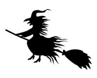 Black witch silhouette on white background.