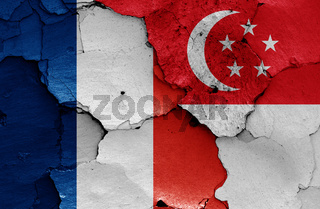 flags of France and Singapore painted on cracked wall