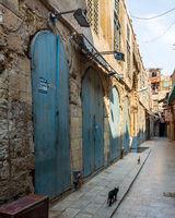 Historic Mamluk era Khan al-Khalili bazaar and souq, closed during Covid-19 lockdown, Cairo, Egypt