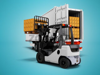 Unloading goods from trailer with forklift 3d render on blue background with shadow