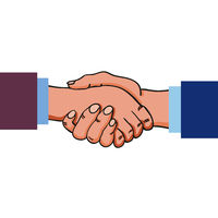 Two adult hands performing a handshake after agreement, contract or before meeting, greeting