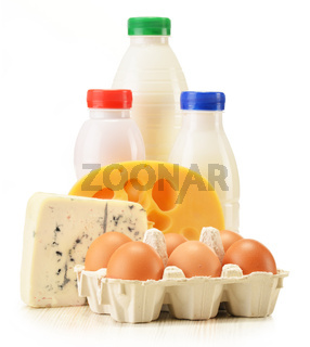 Composition with variety of dairy products isolated on white