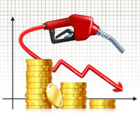 Falling Price of Gas. Fuel handle pump nozzle with hose like price falling graph