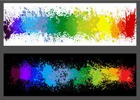 Color Paint Splashes Banner Set