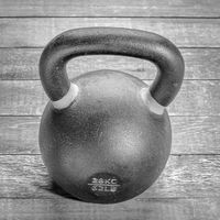 heavy iron kettlebell - fitness concept