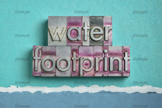 water footprint word abstract in gritty  letterpress metal types