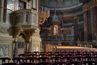 Catholic Cathedral interior with paintings and statues, Budapest.