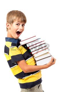 School boy is holding books