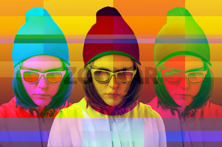 Art collage with alternative funky girl with overlay effect on bright multicolors background. Close up fashion portrait young beautiful woman in glasses. Unusual youth fashion concept.