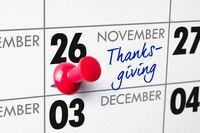 Thanksgiving Day, November 26