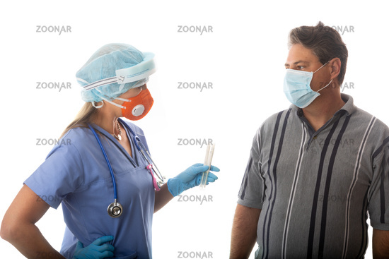 Patient being treaded by Healthcare Professional for infectious