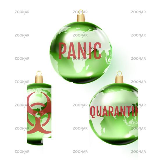 Glass Christmas ball dedicated to the coronavirus pandemic