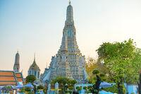 View of main prang of Wat Arun at twilight in Bangkok