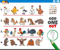 odd one out picture game with animal characters