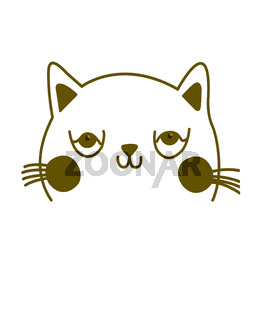 Simple drawn cat in outline, illustration