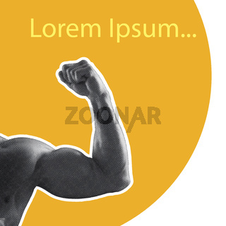 Body builder strong arm on yellow and white background. Be strong motivation. Gym quote illustration. Standard text