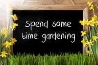 Sunny Spring Narcissus, Chalkboard, Text Spend Some Time Gardening