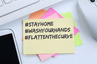 Stay home hashtag stayhome flatten the curve Coronavirus corona virus doctor ill illness desk
