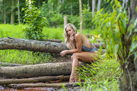 A Lovely Blonde Lingerie Model Enjoys An Spring Day Outdoors