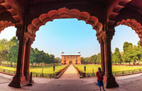 Red Fort Delhi inner courtyard, panorama of India