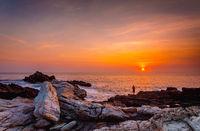 Brilliant vivid sunrise over the ocean