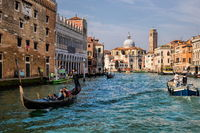 Venice, Italy - March 16th, 2019 - Shipping on the Grand Canal