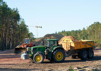 Rodung eines Waldes für den  Bau der Autobahn A14