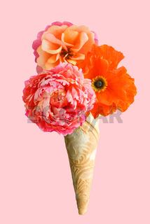 Ice cream cone with three crepe paper flowers