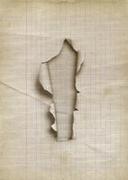Old lined torn paper with hole