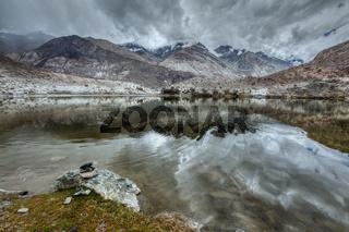 Sacred mountain lake Lohan Tso in Himalayas. Nubra valley