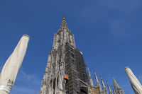 Ulm Minster with Renovation Scaffolding - Ulm