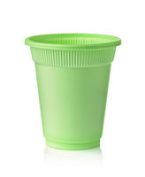 Front view of green disposable biodegradable plastic cup