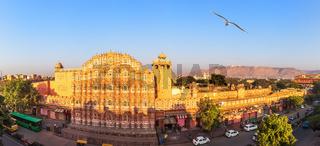 Pink palace Hawa Mahal, aerial panorama, Jaipur,India