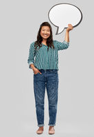 happy asian woman holding speech bubble