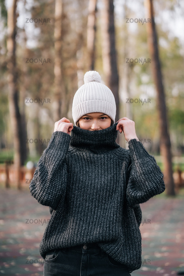 Emotion photo. Cute white emotional caucasian girl in the park