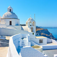 Greek church on the coast in Santorini