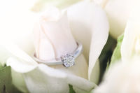 Engagement ring with diamond on rosebud