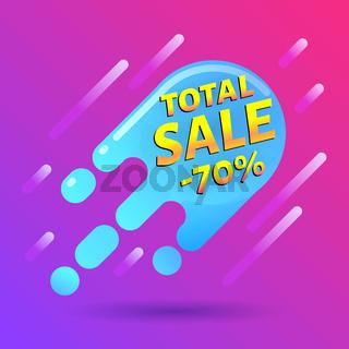 seventy percent OFF Sale Discount Banner. Special offer blue label. Flat designed Sticker Illustration