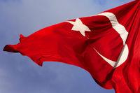 Turkish flag at windy sun day