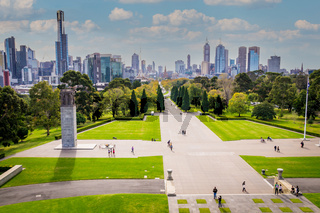 Cityscape of Melbourne from Shrine of Remembrance