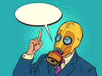 Politician businessman in a gas mask, protective mask epidemic quarantine