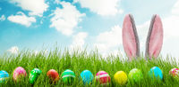 Fun easter rabbit ears eggs and grass