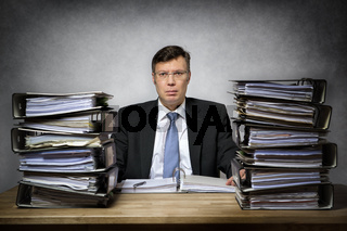 Overworked depressed businessman
