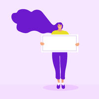 Girl holds a blank form, poster, template for text. Flat modern illustration. Vector