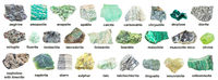 set of various green rough minerals with names