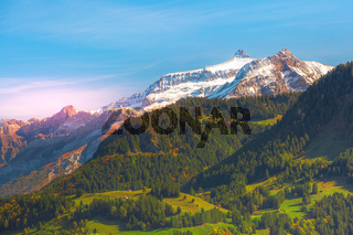 Colorful rocky mountains at sunset, Swiss Alps