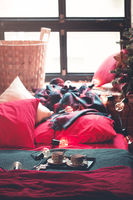 Cozy bedroom with Christmas decoration