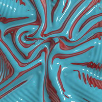 Abstract and shiny luxury silk cloth in shape of liquid wave with folds. Satin or velvet material background in green and red colors. 3d illustration