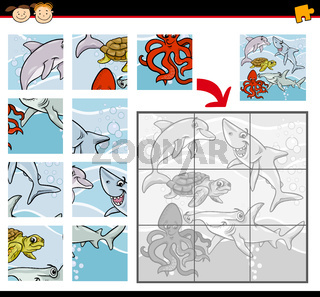 cartoon animals jigsaw puzzle game