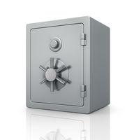 Realistic steel bank safe.